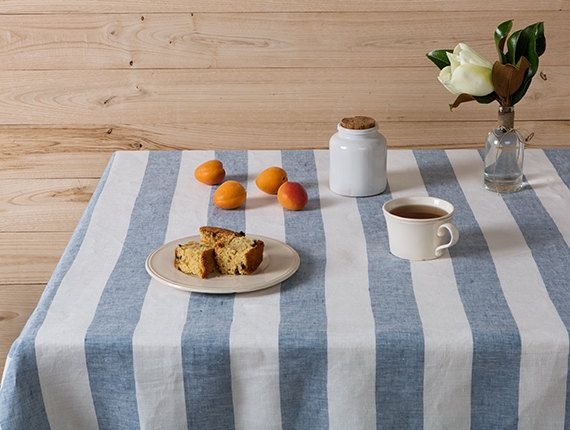 Striped Linen tablecloth in Denim Blue and White by LinenHomeDecor