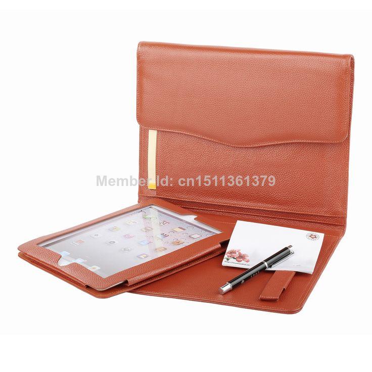 Genuine Leather Triple Folding Portfolio for iPad Case Orange $89.99