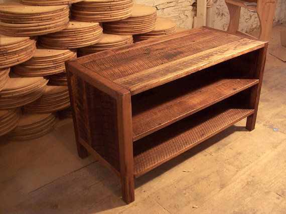 Solid Oak Rustic Media Console by BarnWoodFurniture on Etsy, $535.00