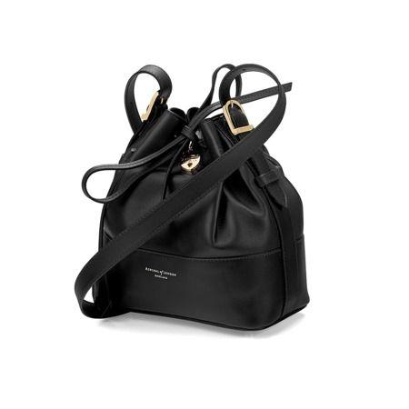 Padlock Bucket Bag in Smooth Black Nappa from Aspinal of London