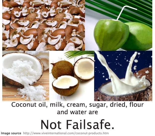 All forms of COCONUT are not suitable for the Failsafe Diet. Fresh coconut is a moderate Salicylates and Amines. Failsafe refers to foods that are Free of Additives and Low in Salicylates, Amines, Glutamates and Flavour Enhancers