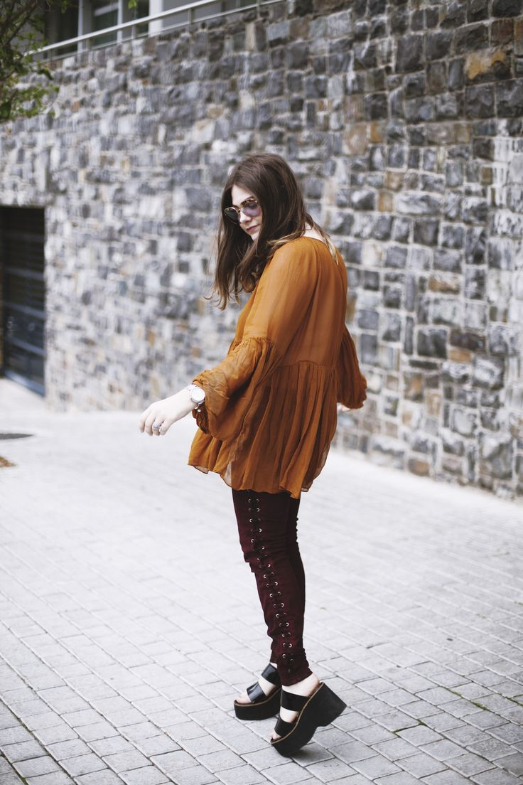 Burnt Orange Raya Rossi The Visual Journal Lace up Guess jeans Platforms