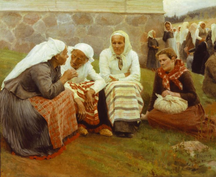 This painting is also very essential to Finnish collective memory. Amazing Albert Edelfelt, Women Outside the Church at Ruokolahti / Ruokolahden Eukkoja Kirkonmäellä 1887, Finnish artist