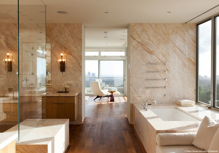#SummitridgeResidence #modern #midcentury #levels #interior #inside #bathroom #sink #bathtub #windows #view #marble #wood #lighting #BeverlyHills #MarmolRadziner
