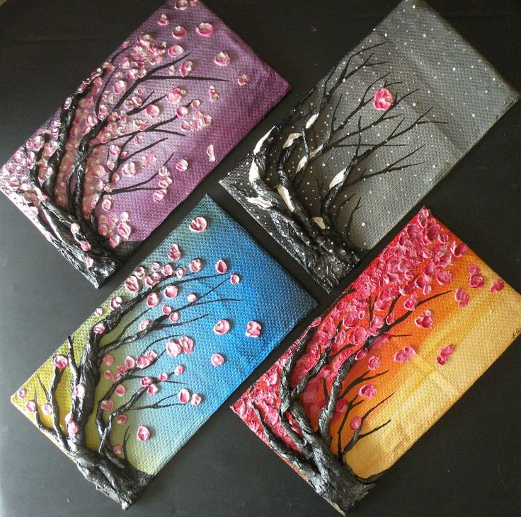 This is a 4 sseason painting of cherry blossoms. The structure and base is completely solid and made from recycled material!