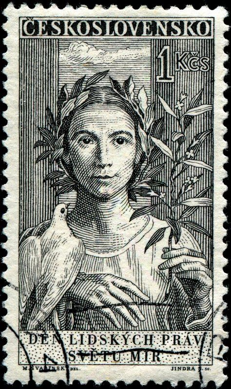 """Peace,"" designed by Czech artist Max Švabinský (1873-1962), engraved by Jindra Schmidt, as one of a set of three stamps commemorating the 10th anniversary of the signing of the Universal Declaration of Human Rights. Stamp issued by Czechoslovakia on September 23, 1959"