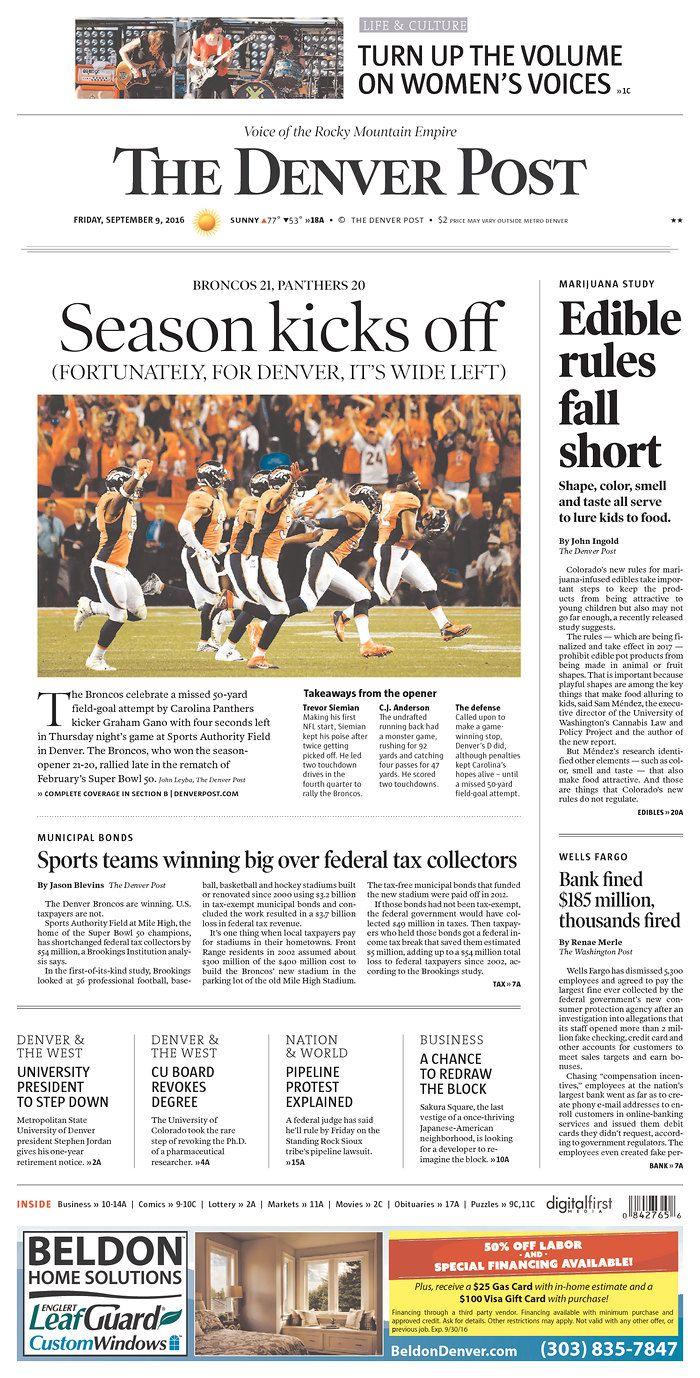 2016-09-08 NFL Season begins with Denver over Carolina after last second FG wide left