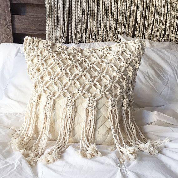 Macrame - Macrame Pillow - Pillows - Throw Pillow -Decorative Pillows - Wedding Gift