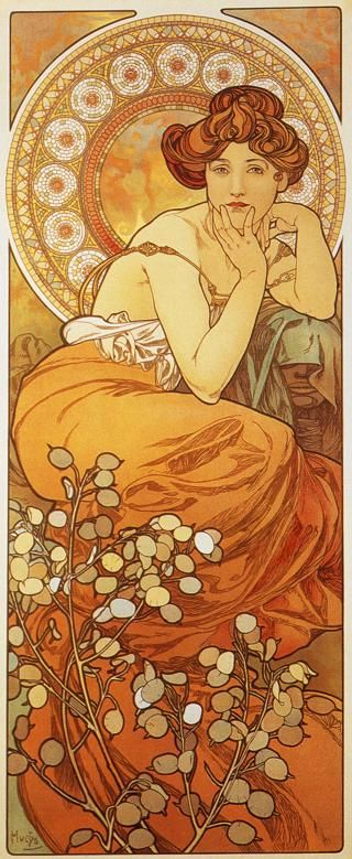 "Another print from Mucha's precious stones series:  ""Topaz."""