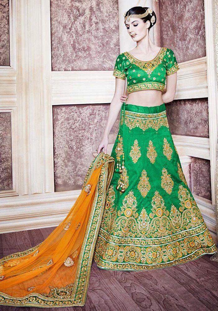 Fashionable Green Colour Party Wear Lehenga