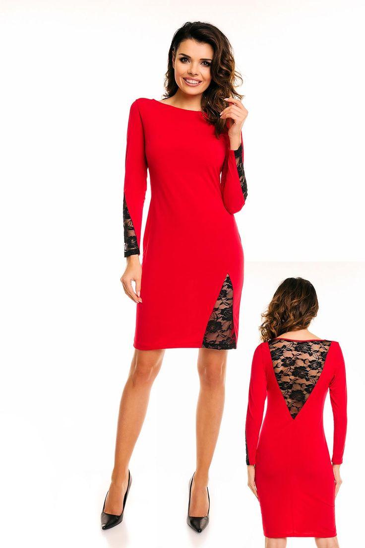 Czerwona Elegancka Sukienka przed Kolano z Prześwitującą Koronką