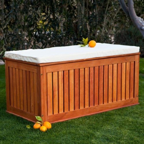 Wood Pool Storage Box Keep Pillow Cushion Outdoor Garden Furniture Side  Chest