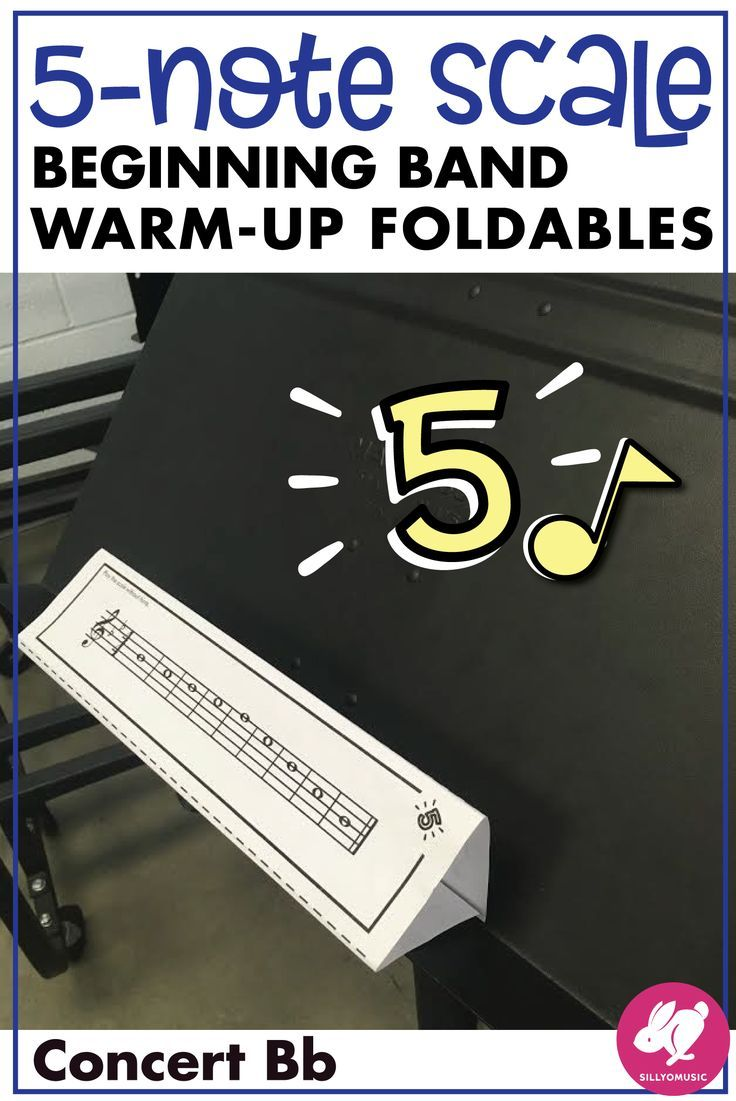 5 Note Scale Warm Up 3d Foldable For Beginning Band Concert Bb