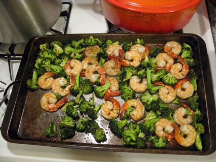 Time saver! Roast broccoli for ten mins at 425. Then add shrimp for 10 more. (toss both in a little olive oil and seasonings Before cooking) Dinner's done