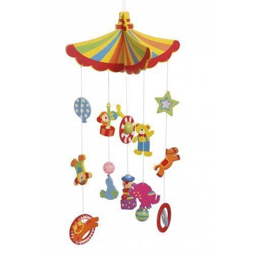En uro med alle de skøre ting som man kender fra tivoli. Denne babyuro har mange forskellige farver som dit barn vil finde interessant hurtigt.