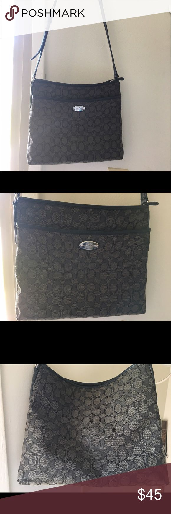 Coach purse Black coach purse, used has some wear n tear on sides and slightly on bottom as shown in pictures. Zipper inside with two pockets very clean no holes Zips close and has a outside pocket . Coach Bags Crossbody Bags