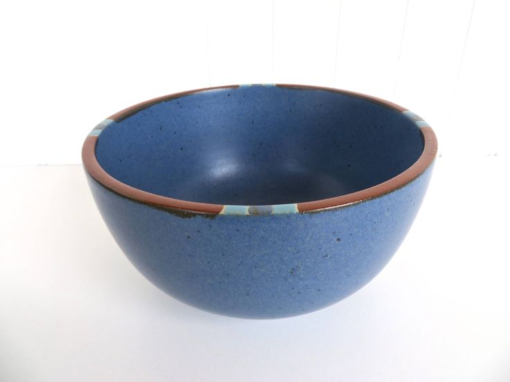 "Dansk Mesa Blue Small Serving Bowl, Modern Southwestern Stoneware Bowl, Dansk Mesa Mixing Bowl, 6 1/4"" Nesting Bowl, Blue Boho Kitchen by HerVintageCrush on Etsy"