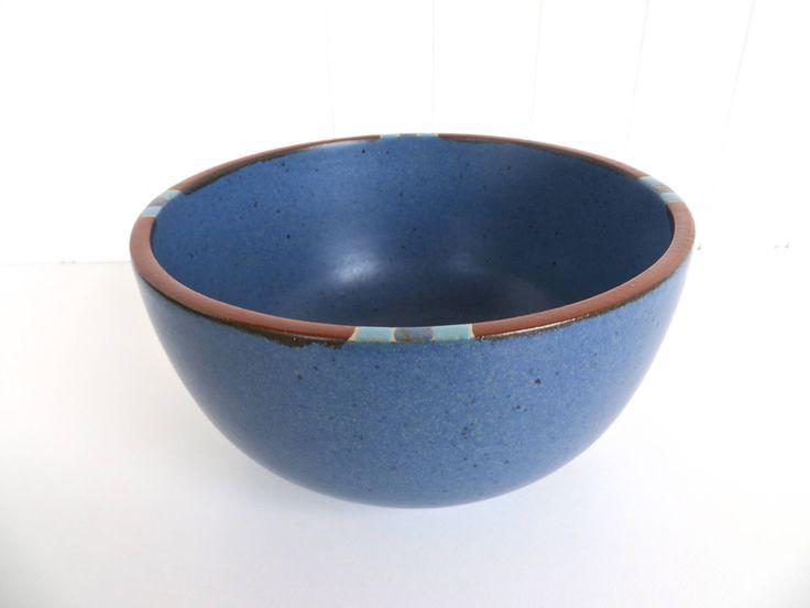 "Dansk Mesa Blue Small Serving Bowl, Modern Southwestern Stoneware Bowl, Dansk Mesa Mixing Bowl, 6 1/4"" Nesting Bowl, Blue Boho Kitchen by HerVintageCrush on Etsy"