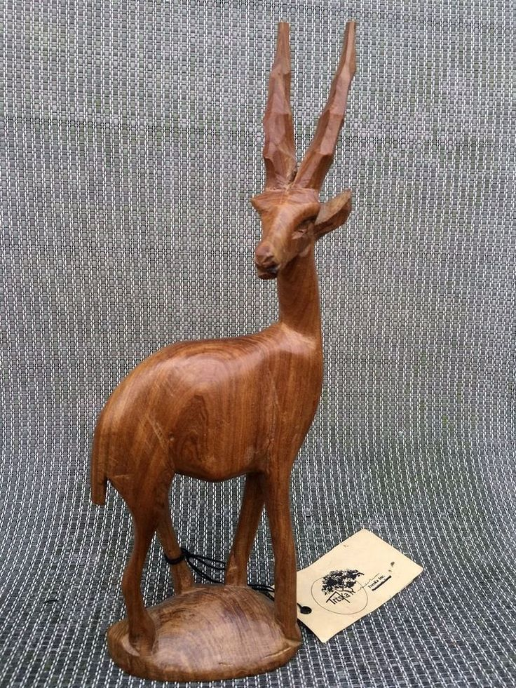 """Hand Carved Wooden Gazelle Besmo Products Akamba of Kenya Africa 12"""" tall #BesmoProducts"""