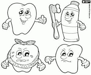 Tanden en tandheelkundige reiniging kleurplaat