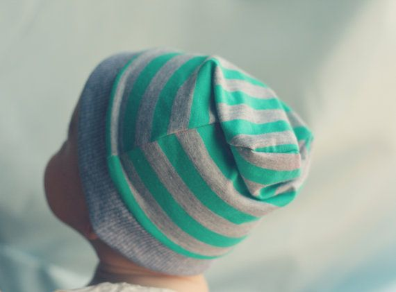 Slouchy Beanie Hat - Babies and Toddlers - Fall - Green and Grey stripes- Hipster style - Gender Neutral on Etsy, $14.00