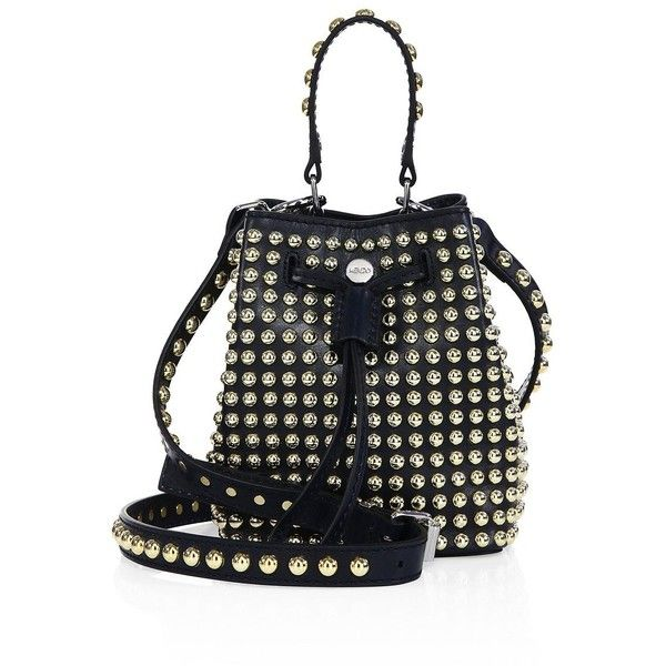 KENZO Women's Elite Studded Leather Bucket Bag - Midnight featuring polyvore, women's fashion, bags, handbags, shoulder bags, apparel & accessories, midnight, leather drawstring purse, leather shoulder bag, genuine leather handbags, leather bucket bag and drawstring shoulder bag