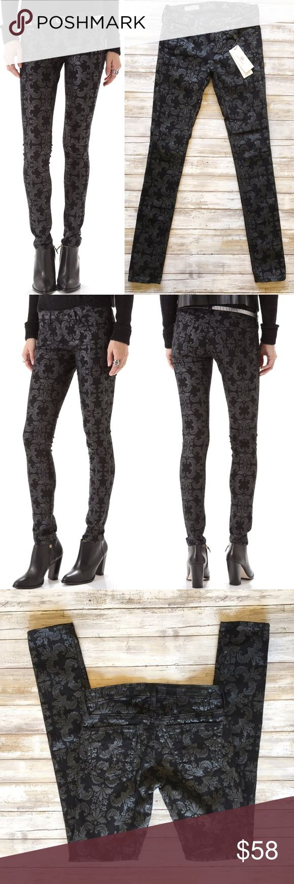 "New ADRIANO GOLDSCHMIED the LEGGING Black F11811 AG the LEGGING SUPER SKINNY Damask Brocade Black Jeans New with tags. Super Skinny AG Adriano Goldschmied Fit is slim from hip to ankle. Made with 9.5 oz Turkish Amaze Hyper Stretch Denim. This exclusive denim is created with excellent recovery so your leggings maintain the same shape and structure while providing a sultry   66% Cotton / 31% Polyester /  3% PU Made in USA   MEASUREMENTS Waist:  12"" flat across Rise:  6"" Inseam: 30   Thank you…"