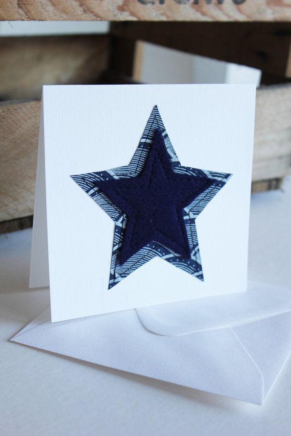 African Star - Blue Shweshwe fabric heart sewn card
