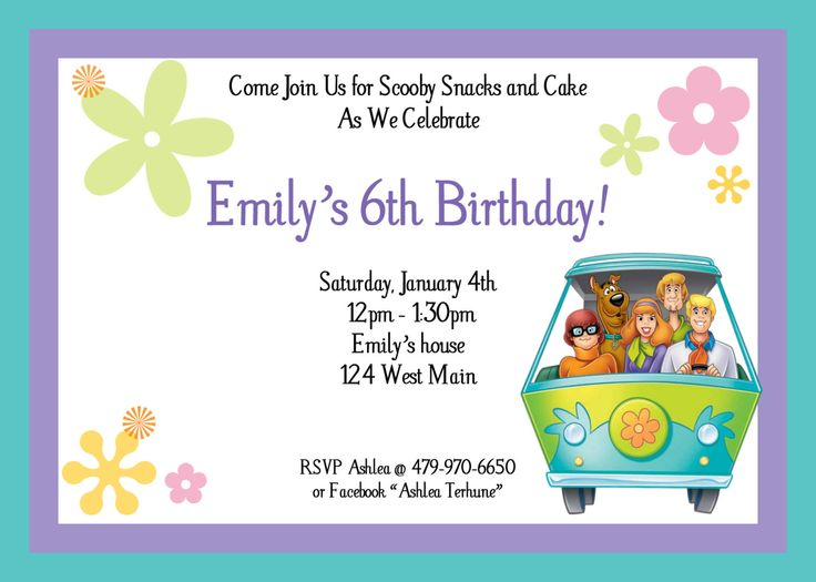30 best hannah scooby birthday images on pinterest | scooby doo, Birthday invitations