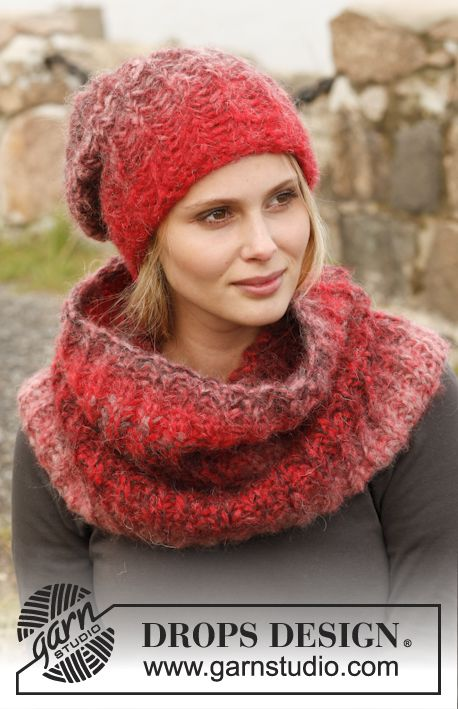 "Knitted DROPS hat and neck warmer with English rib with 2 strands in ""Verdi"". ~ DROPS Design"