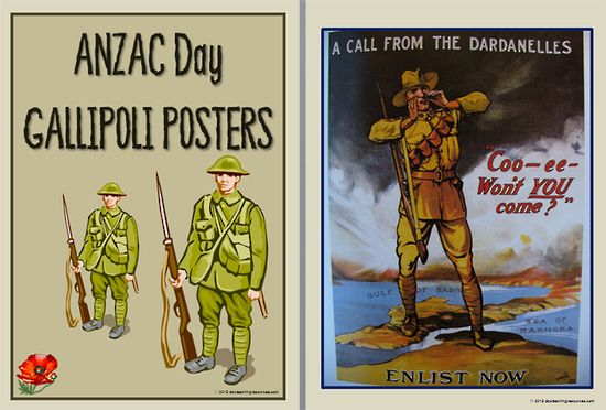 Interpreting | Gallipoli Campaign | Posters. A set of five vintage posters advertising the call to arms for the Gallipoli campaign. Through a set of inquiry questions students are guided to interpret and analyse the posters, then to use the information to design a poster that honours the Gallipoli campaign.