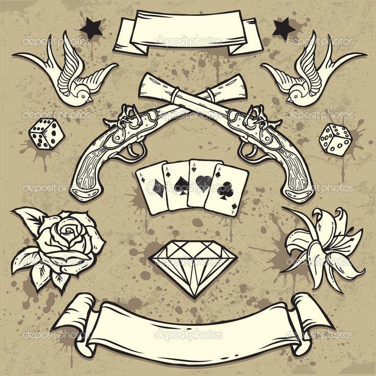 Télécharger - La valeur d'anciens éléments de tatouage de l'école — Illustration #17376905