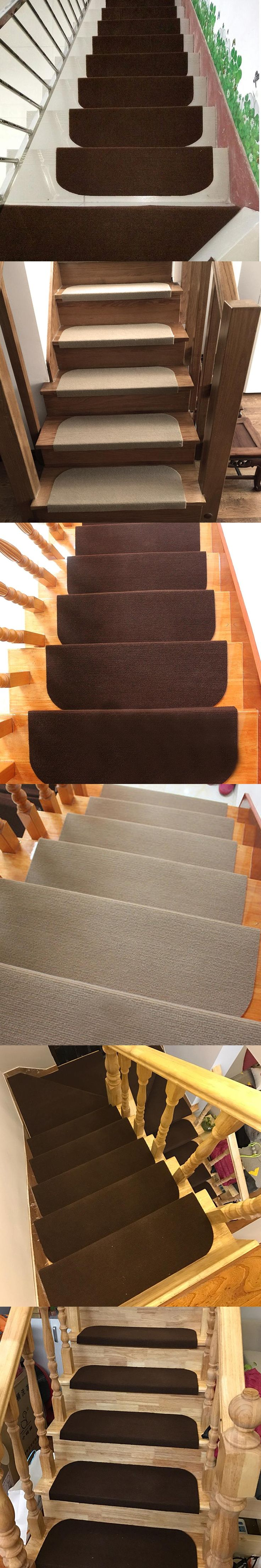 yazi Anti-Slip Stairs Mat Warm Self-adhesive Solid Acrylic Fibres Rug Living Room Soft Stairway Mat Washable 2 Color