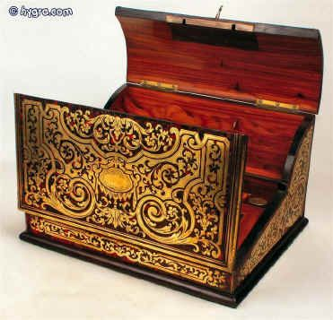 Antique French tortoiseshell and brass Boulle writing slope circa 1850