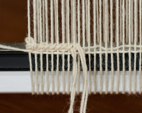 The header. it is the initial band of weaving that you create using the same yarn you used for the warps.