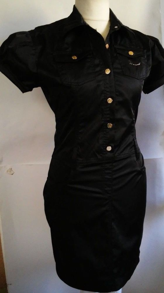 GUCCI WOMENS LOGO black cotton dress with a belt and short sleeves size xxl #Gucci #Casual