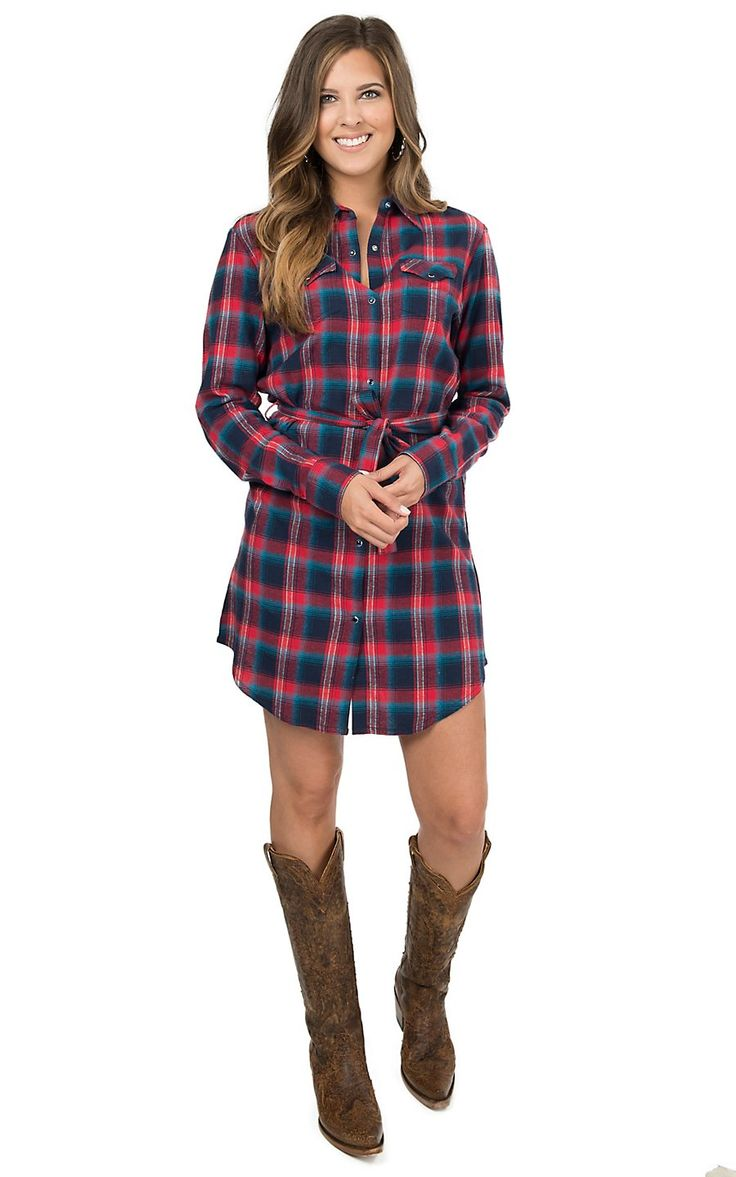 As Real As Wrangler Women's Red & Navy Flannel Plaid Long Sleeve Dress | Cavender's