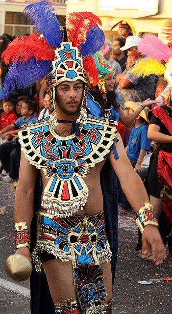 Aztec warrior in the Mazatlan Carnival parade