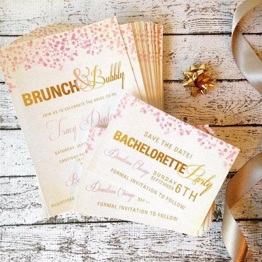 Champagne Bridal Shower Invitation PRINTED by DesignbyKristinLynn