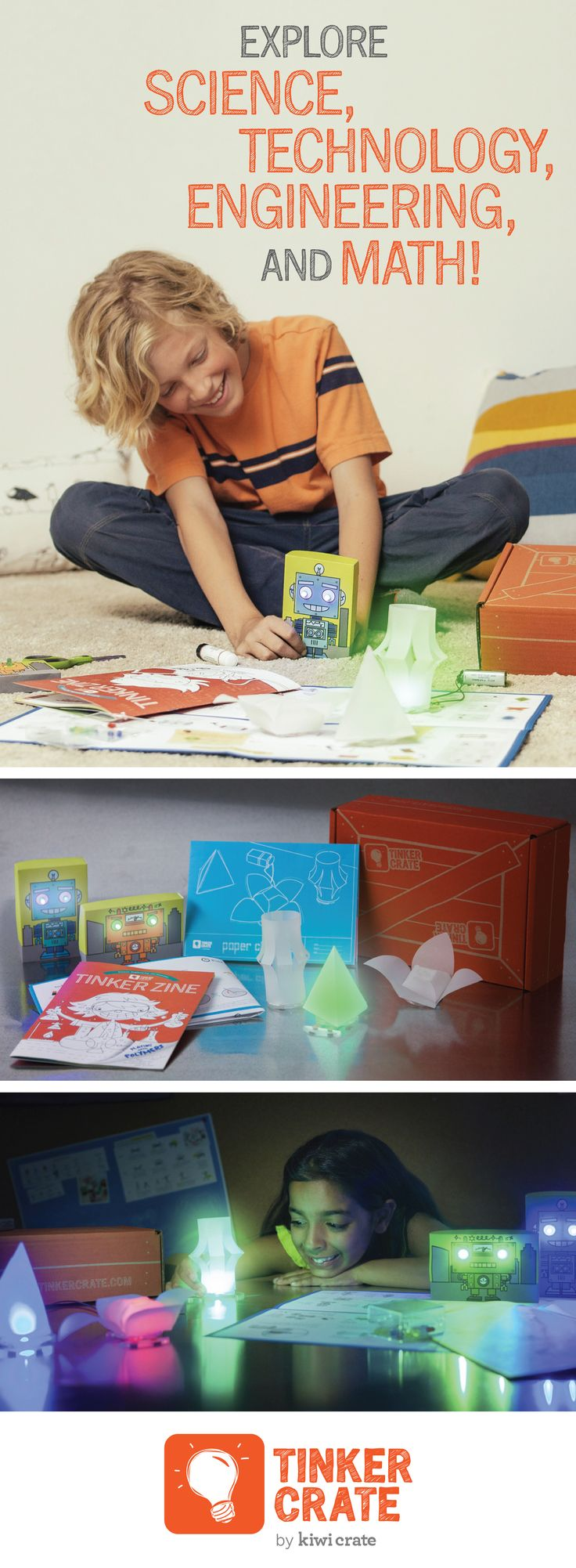 With a Tinker Crate subscription you'll receive materials and inspiration for awesome science and engineering activities. We develop new project themes every month so your kid will continue learning new concepts!   Join today and experiment with circuits to peek into the amazing world of electricity!   Save 30% off the first month of your subscription! Hurry, offer ends September 30,2015.