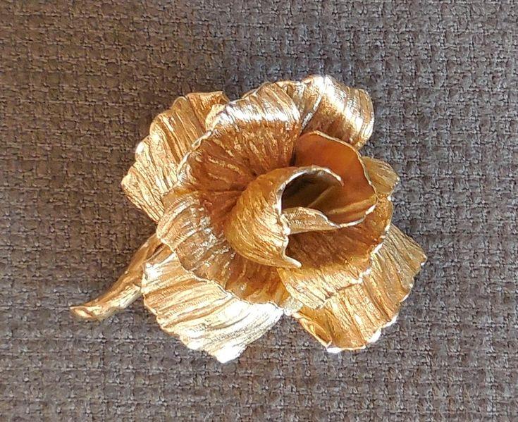 Beautiful CHRISTIAN DIOR Gilt ROSE Brooch...1964 Mid Century Designer Floral Figural Jewellery...Retro Wedding Romantic Glamour! by SlimandSugar on Etsy