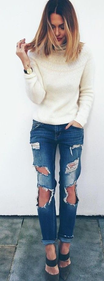 White Sweater On Shredded Denim |Caroline Receveur