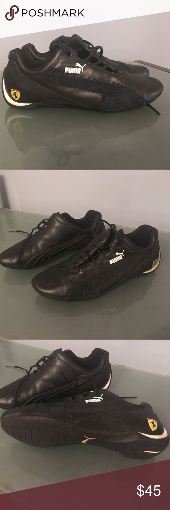 Puma - Ferrari shoes - Size 5.5 (US) - Women Gently used Puma-Ferrari Collection, black sneakers, Size 5.5 (US). No scratches, Smoke free home. If you like to see more pictures please feel free to ask. Thank you 😊 Puma Shoes Sneakers
