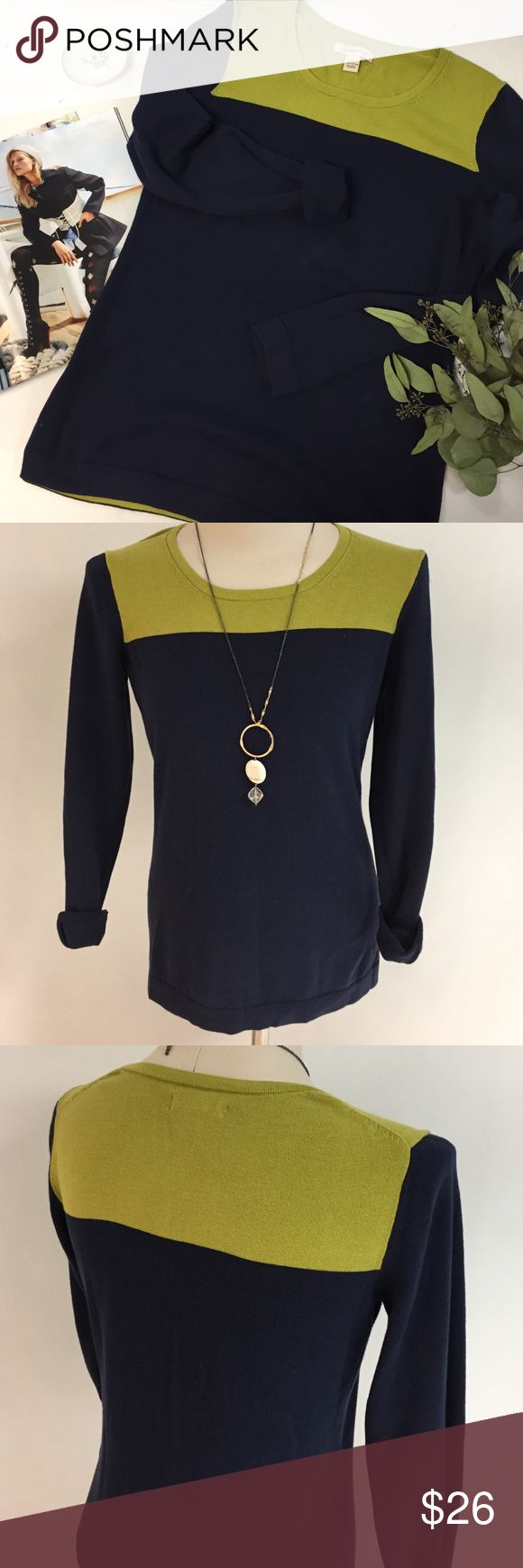 Color Blocks Knit Sweater NWOT Bring a natural element to your look with this Color Block Sweater from G.H. Bass&Co. Crew neck Long sleeves. Contrast green+navy blue 100cotton side vents 28ins long. Very cute!!! GH Bass&Co Sweaters Crew & Scoop Necks