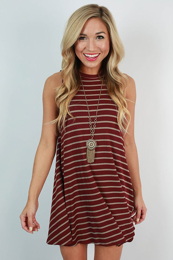 Girl's Night Stripe Tank Dress in Maroon