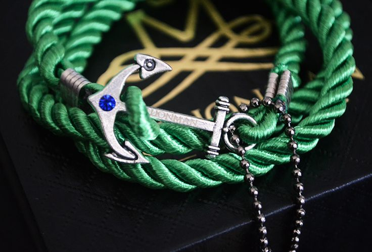 Emerald Green Anchor Rope Bracelet.