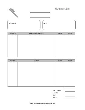 A printable invoice for use by a plumber or plumbing firm, featuring a graphic of a wrench. It has spaces to note quantity, unit, item, price, and more, separated by materials and labor. It is available in PDF, DOC, or XLS (spreadsheet) format. Free to download and print
