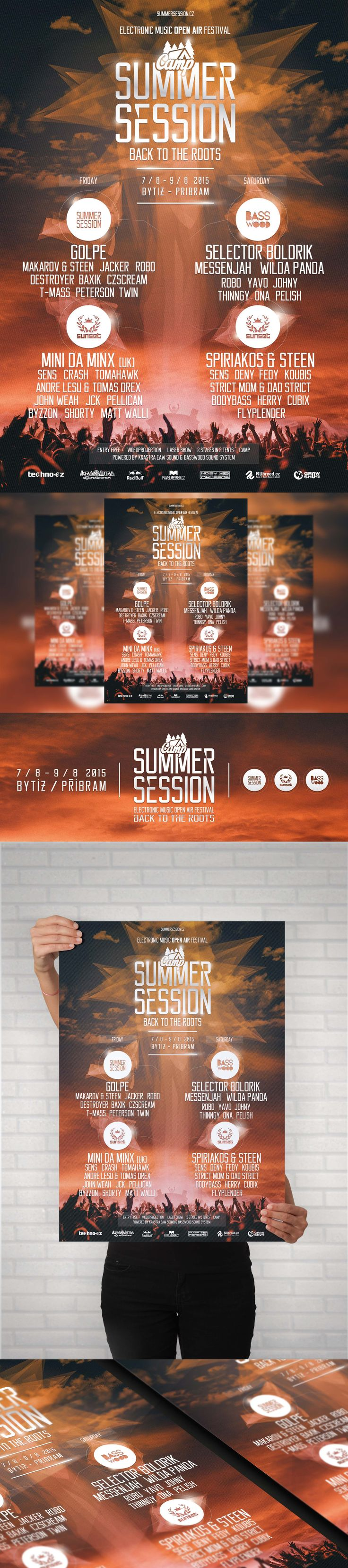 Summer session camp 2015 Electronic music event - A3, A4, A5 Poster, Facebook event header and preview. My first work for this crew. #poster #posterdesign #fbheader #graphicdesign