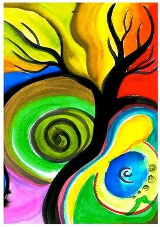 Expressive Art Activity # 21 - Paint a Tree Spontaneously - The Art of Healing Psyche and Soul