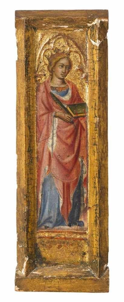 Lot 1001 - Andrea di BartoloDie Heilige Katharina von Alexandrien Tempera auf Holz. 40 x 13 cm.GutachtenG.
